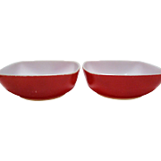 SALE Pair of Red Pyrex Square Bowls - 1 1/2 Quarts