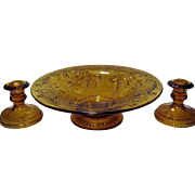 SALE Tiara Crystal Amber Sandwich Flared Bowl and Candle Holders