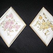 SALE Pair of Lefton Floral Wall Plaques - Pink and Yellow