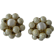 SALE Creamy White Beaded Cluster Clip Earrings