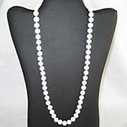 "SALE 24"" White Glass Bead Necklace - Sterling Clasp"
