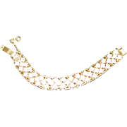 SALE White Enamel on Gold Tone Bracelet