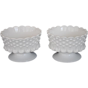 Pr. Fenton White Milk Glass Hobnail Footed Candle Holders