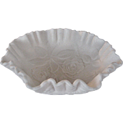 Imperial Glass White Satin Bowl - Roses