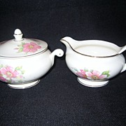 SALE Homer Laughlin Wild Pink Rose Creamer And Covered Sugar