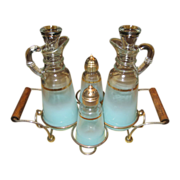 Anchor Hocking Frosted Blue Condiment Set with Rack
