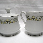 SALE Sterling China Florentine Creamer and Covered Sugar