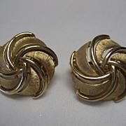 SALE Crown Trifari Goldtone Clip On Earrings