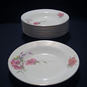 SALE Homer Laughlin Wild Pink Rose Rimmed Soup Bowls - 12 Available
