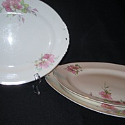 SALE 3 Homer Laughlin Wild Pink Rose Platters - Eggshell Nautilus