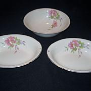 SALE 4 Homer Laughlin Wild Pink Rose Bowls - 3 Serving, 1 Finger Bowl