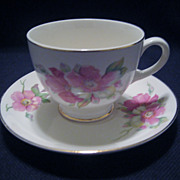 SALE Homer Laughlin Wild Pink Rose Cup and Saucer - 5 Available