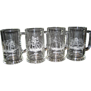 SALE Set of 4 Etched Maritime Glass Mugs