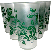 SALE Set of 6 Frosted Federal Leaf Drinking Glasses