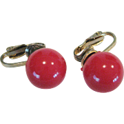 Single Red Bead Clip-On Earrings - Hong Kong