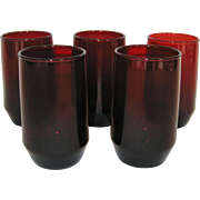 Set of 5 Ruby Red Anchor Hocking Juice Glasses