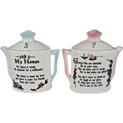 """My House"" Salt and Pepper Shakers - Teapot Shape"