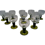 SALE 11 Etched Crystal 1 Ounce Pony Goblets - Olive Green Button Stems