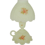 Fenton Roses On Custard Satin 3 Piece Candle Lamp