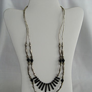 SALE Silvertone and Black Double Strand Necklace
