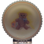 SALE Fenton Hand Painted Teddy Bear Cup Plate and Stand