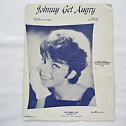 SALE Joanie Sommers Sheet Music - Johnny Get Angry - 1962