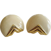 Monet Cream and Goldtone Clip=On Earrings