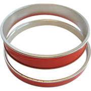 Pair of Monet Red Bangle Bracelets This i