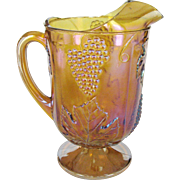 Gold Carnival Indiana Glass Grape Leaf Pitcher