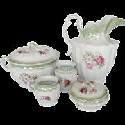 Antique Five Piece Wash Set - Floral Pattern