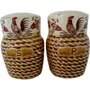 SALE Basket Look Salt and Pepper With Roosters