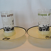 SALE Pair of Hi-Snack Plates With Tall Tumblers