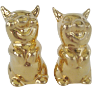 SALE Gold Colored Pig Salt and Pepper Shakers