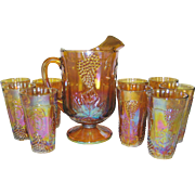 SOLD Indiana Glass Marigold Carnival Pitcher and 9 Glasses