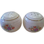SALE Round Shaped Floral Petit Point Salt and Pepper Shakers