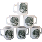 "SALE Set of 6 Glasbake ""The Old Homestead In Winter"" Mugs - Currier & Ives Green"