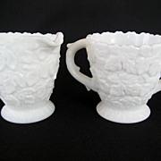 Westmoreland White Milk Glass Creamer and Sugar
