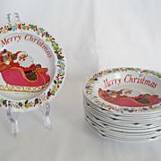 SALE Set of 16 Tin Christmas Ashtrays