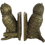 SOLD Set of Cast Metal Owl Bookends