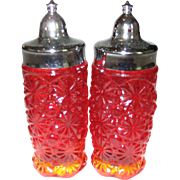 Amberina Button and Daisy Glass Salt and Pepper Shakers