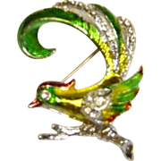 SALE Small Colorful Bird Pin With Pave' Stones