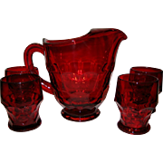 Viking Ruby Red Georgian Pitcher and 4 Glasses