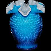 SOLD Fenton Cased Glass Blue Hobnail Vase