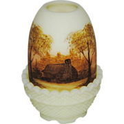 Fenton Log Cabin on Custard Satin Fairy Light