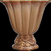 REDUCED Cowan Pottery Large Seahorse Fan Vase, Fawn Glaze, Ca. 1926