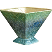 English Modernist Pottery Fan Vase, Green and Blue