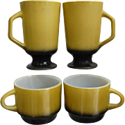 Fire King Mug Assortment, Homestead Cups, Footed Mugs