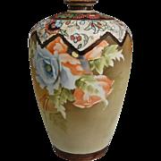 """Noritake Nippon 9"""" Matte Floral Vase"""