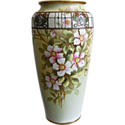 "REDUCED Stunning Noritake Nippon 10"" Enameled Jewel Dogwood Vase"