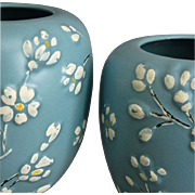 Hand Painted Pottery Vases, Pair